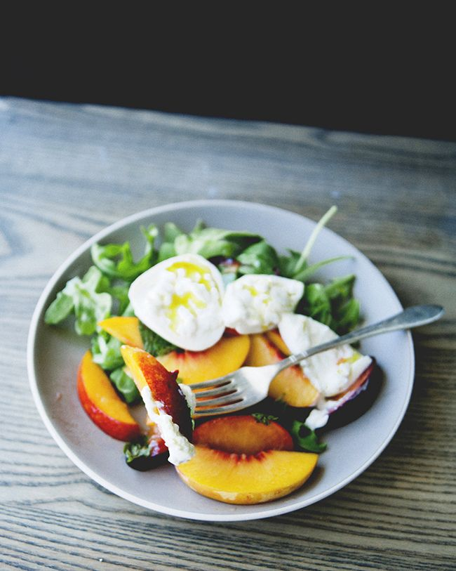 Burrata Salad with Stone Fruit and Asparagus