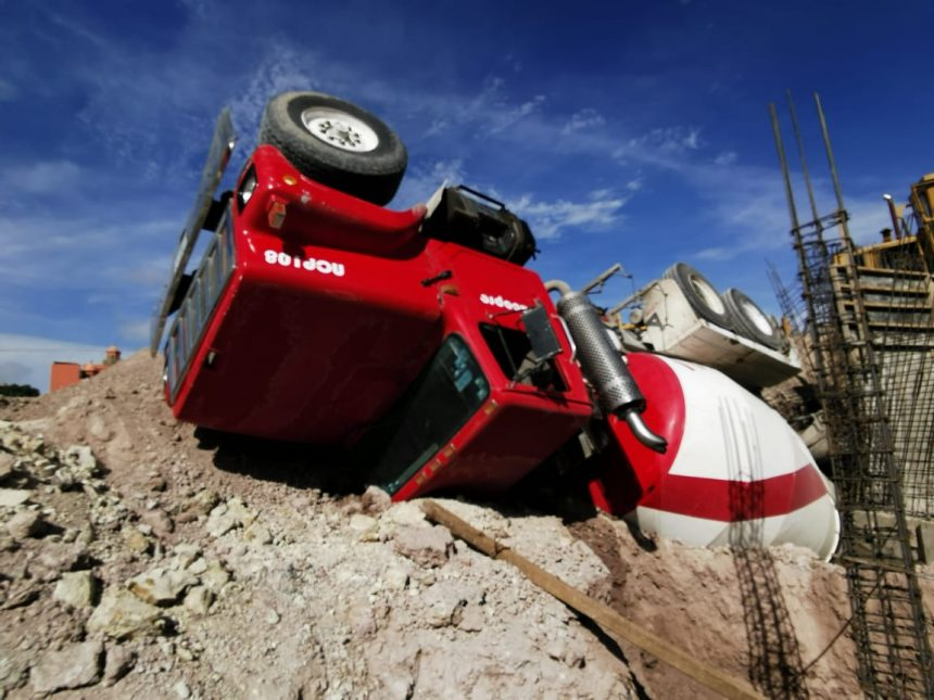 Construction closes after cement mixer overturns
