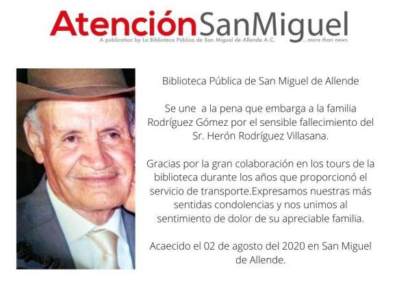 Obituario: Sr. Herón Rodríguez Villasana