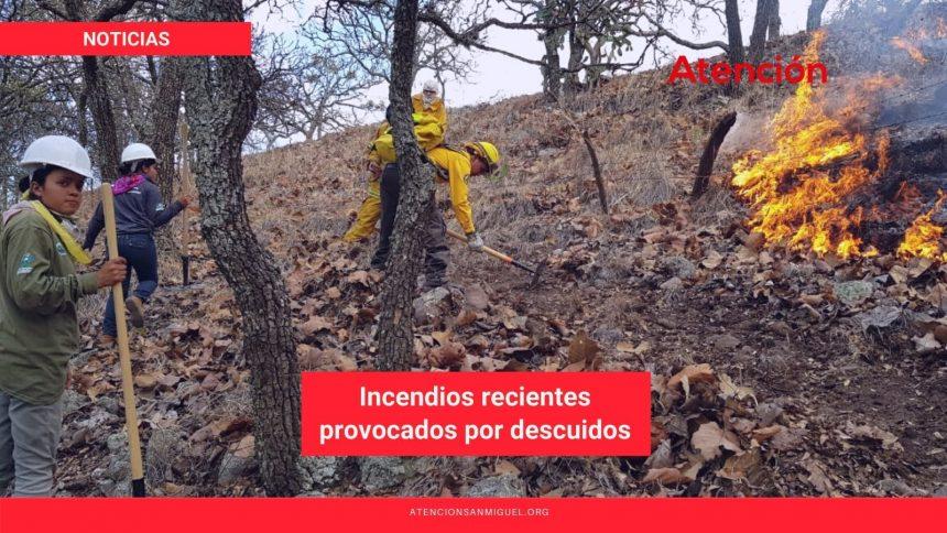 Incendios recientes provocados por descuidos