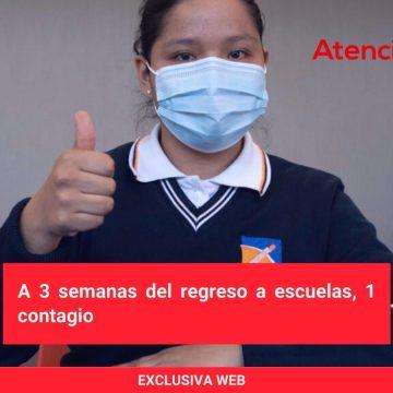 A 3 semanas del regreso a escuelas, 1 contagio